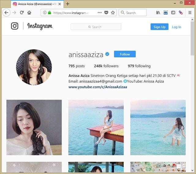 Akun Sosial Media Instagram Anisa Aziza Istri Raditya Dika